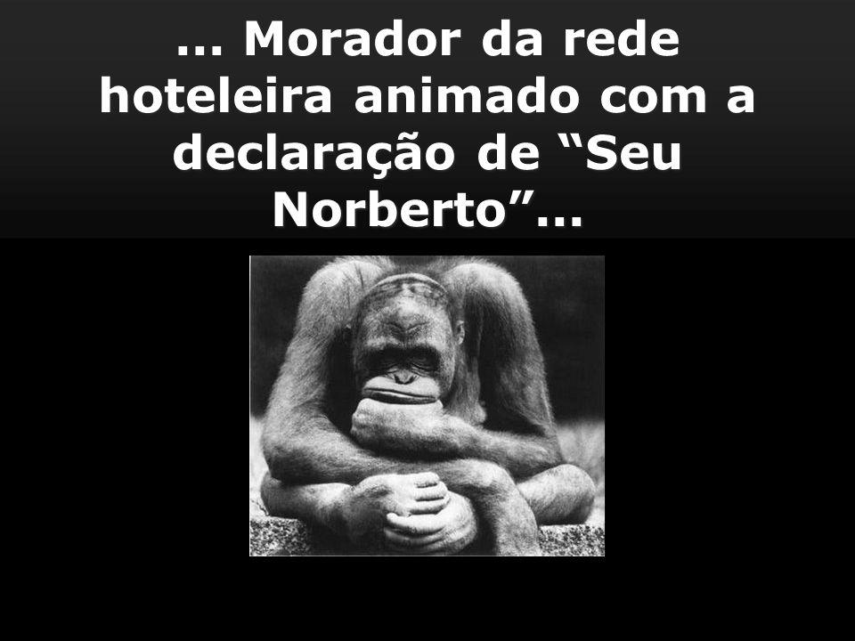 ... Morador da rede hoteleira animado com a declaração de Seu Norberto...