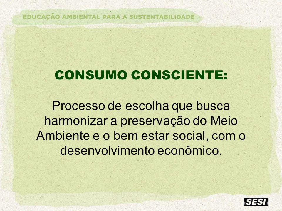 CONSUMO CONSCIENTE: Processo de escolha que busca harmonizar a preservação do Meio Ambiente e o bem estar social, com o desenvolvimento econômico.