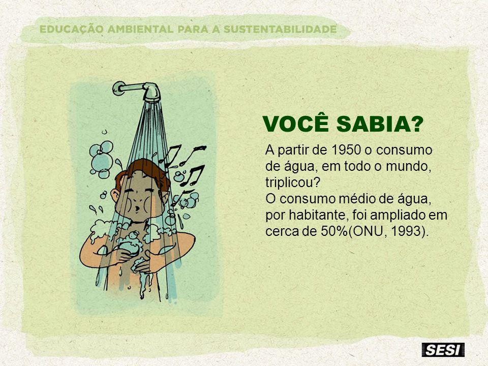 VOCÊ SABIA? A partir de 1950 o consumo de água, em todo o mundo, triplicou? O consumo médio de água, por habitante, foi ampliado em cerca de 50%(ONU,