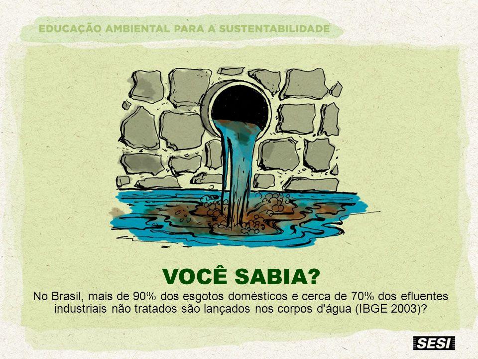 VOCÊ SABIA? No Brasil, mais de 90% dos esgotos domésticos e cerca de 70% dos efluentes industriais não tratados são lançados nos corpos d'água (IBGE 2
