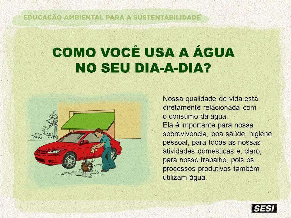COMO VOCÊ USA A ÁGUA NO SEU DIA-A-DIA? Nossa qualidade de vida está diretamente relacionada com o consumo da água. Ela é importante para nossa sobrevi