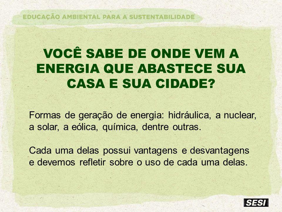 VOCÊ SABE DE ONDE VEM A ENERGIA QUE ABASTECE SUA CASA E SUA CIDADE? Formas de geração de energia: hidráulica, a nuclear, a solar, a eólica, química, d