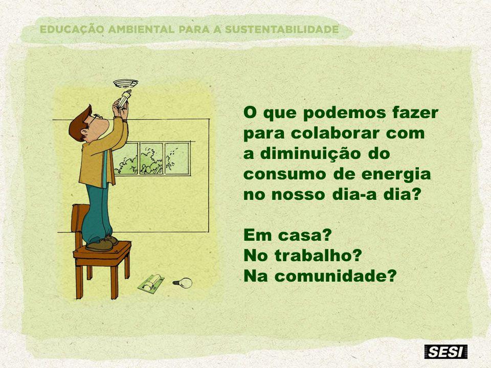 O que podemos fazer para colaborar com a diminuição do consumo de energia no nosso dia-a dia? Em casa? No trabalho? Na comunidade?