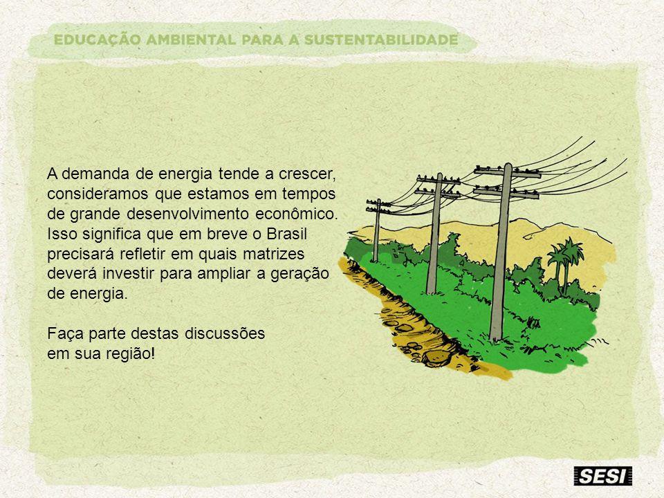 A demanda de energia tende a crescer, consideramos que estamos em tempos de grande desenvolvimento econômico. Isso significa que em breve o Brasil pre