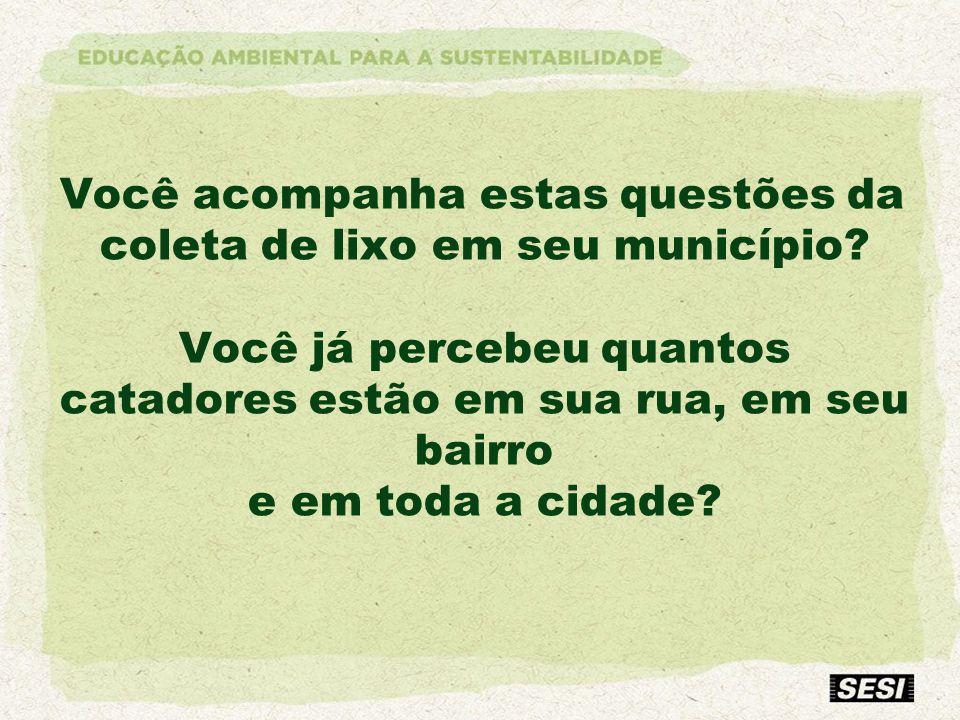 Você acompanha estas questões da coleta de lixo em seu município? Você já percebeu quantos catadores estão em sua rua, em seu bairro e em toda a cidad