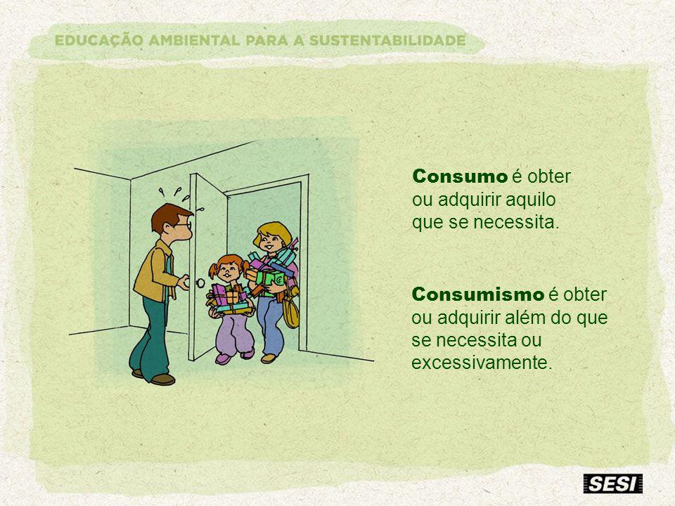Consumo é obter ou adquirir aquilo que se necessita. Consumismo é obter ou adquirir além do que se necessita ou excessivamente.