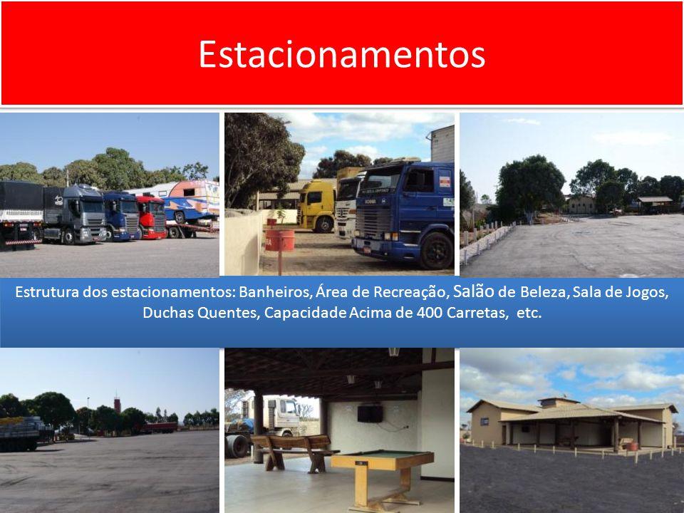 Estacionamentos Estrutura dos estacionamentos: Banheiros, Área de Recreação, Salão de Beleza, Sala de Jogos, Duchas Quentes, Capacidade Acima de 400 Carretas, etc.