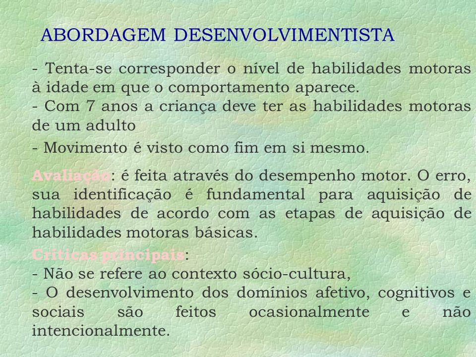 A EDUCAÇÃO FÍSICA ESCOLAR ABORDAGENS : Segundo Darido: Desenvolvimentista; Construtivista; Crítico-superadora; Sistêmica Segundo Abib : Crítico-supera