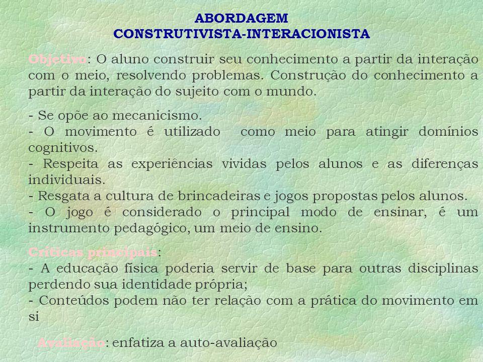 ABORDAGEM CONSTRUTIVISTA-INTERACIONISTA Objetivo : O aluno construir seu conhecimento a partir da interação com o meio, resolvendo problemas.