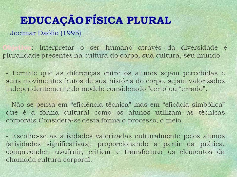 EDUCAÇÃO FÍSICA PLURAL Jocimar Daólio (1995) Objetivo : Interpretar o ser humano através da diversidade e pluralidade presentes na cultura do corpo, sua cultura, seu mundo.