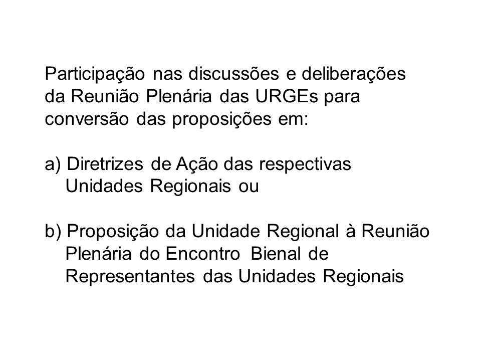Participação nas discussões e deliberações da Reunião Plenária das URGEs para conversão das proposições em: a) Diretrizes de Ação das respectivas Unidades Regionais ou b) Proposição da Unidade Regional à Reunião Plenária do Encontro Bienal de Representantes das Unidades Regionais