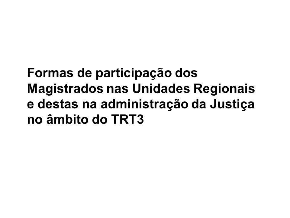Formas de participação dos Magistrados nas Unidades Regionais e destas na administração da Justiça no âmbito do TRT3