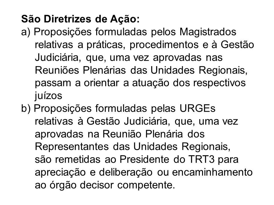 São Diretrizes de Ação: a) Proposições formuladas pelos Magistrados relativas a práticas, procedimentos e à Gestão Judiciária, que, uma vez aprovadas nas Reuniões Plenárias das Unidades Regionais, passam a orientar a atuação dos respectivos juízos b) Proposições formuladas pelas URGEs relativas à Gestão Judiciária, que, uma vez aprovadas na Reunião Plenária dos Representantes das Unidades Regionais, são remetidas ao Presidente do TRT3 para apreciação e deliberação ou encaminhamento ao órgão decisor competente.