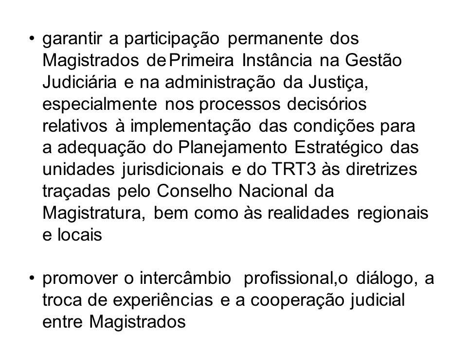 garantir a participação permanente dos Magistrados dePrimeira Instância na Gestão Judiciária e na administração da Justiça, especialmente nos processos decisórios relativos à implementação das condições para a adequação do Planejamento Estratégico das unidades jurisdicionais e do TRT3 às diretrizes traçadas pelo Conselho Nacional da Magistratura, bem como às realidades regionais e locais promover o intercâmbio profissional,o diálogo, a troca de experiências e a cooperação judicial entre Magistrados
