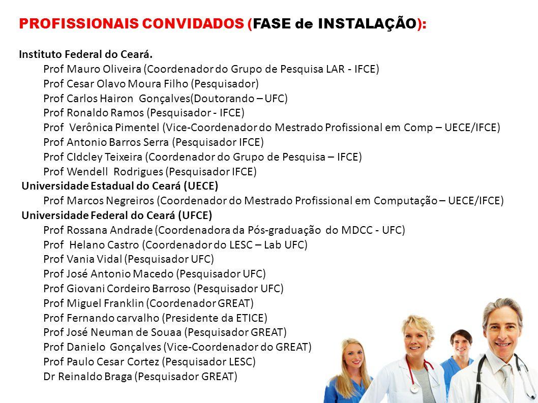 PROFISSIONAIS CONVIDADOS (FASE de INSTALAÇÃO): Instituto Federal do Ceará. Prof Mauro Oliveira (Coordenador do Grupo de Pesquisa LAR - IFCE) Prof Cesa