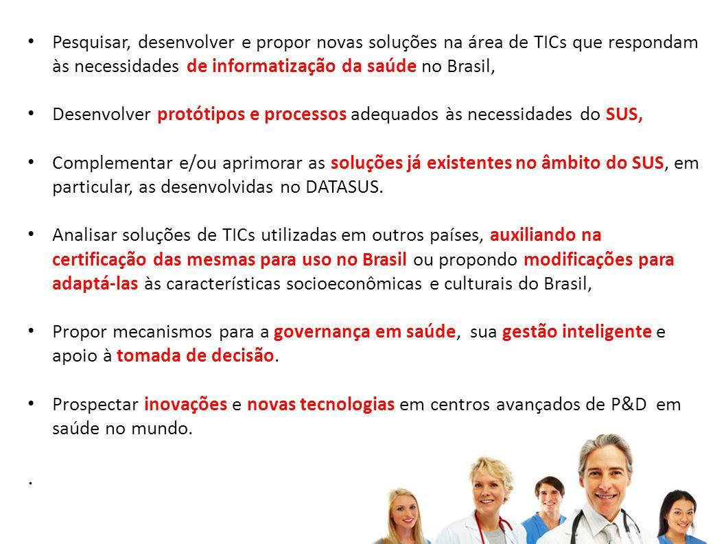 Pesquisar, desenvolver e propor novas soluções na área de TICs que respondam às necessidades de informatização da saúde no Brasil, Desenvolver protóti