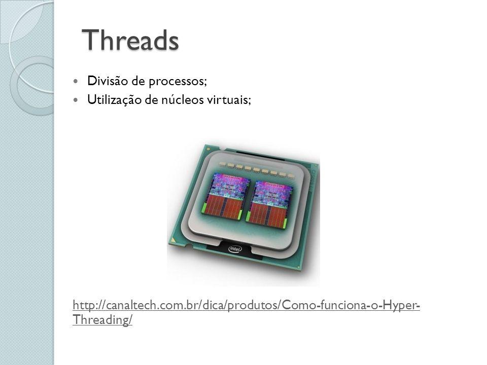 Threads Divisão de processos; Utilização de núcleos virtuais; http://canaltech.com.br/dica/produtos/Como-funciona-o-Hyper- Threading/