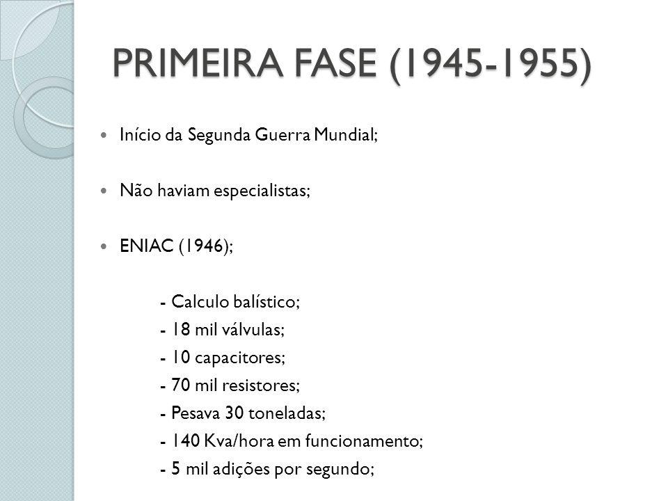 PRIMEIRA FASE (1945-1955) Início da Segunda Guerra Mundial; Não haviam especialistas; ENIAC (1946); - Calculo balístico; - 18 mil válvulas; - 10 capacitores; - 70 mil resistores; - Pesava 30 toneladas; - 140 Kva/hora em funcionamento; - 5 mil adições por segundo;