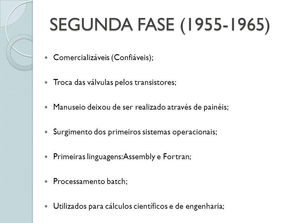 SEGUNDA FASE (1955-1965) Comercializáveis (Confiáveis); Troca das válvulas pelos transistores; Manuseio deixou de ser realizado através de painéis; Surgimento dos primeiros sistemas operacionais; Primeiras linguagens: Assembly e Fortran; Processamento batch; Utilizados para cálculos científicos e de engenharia;