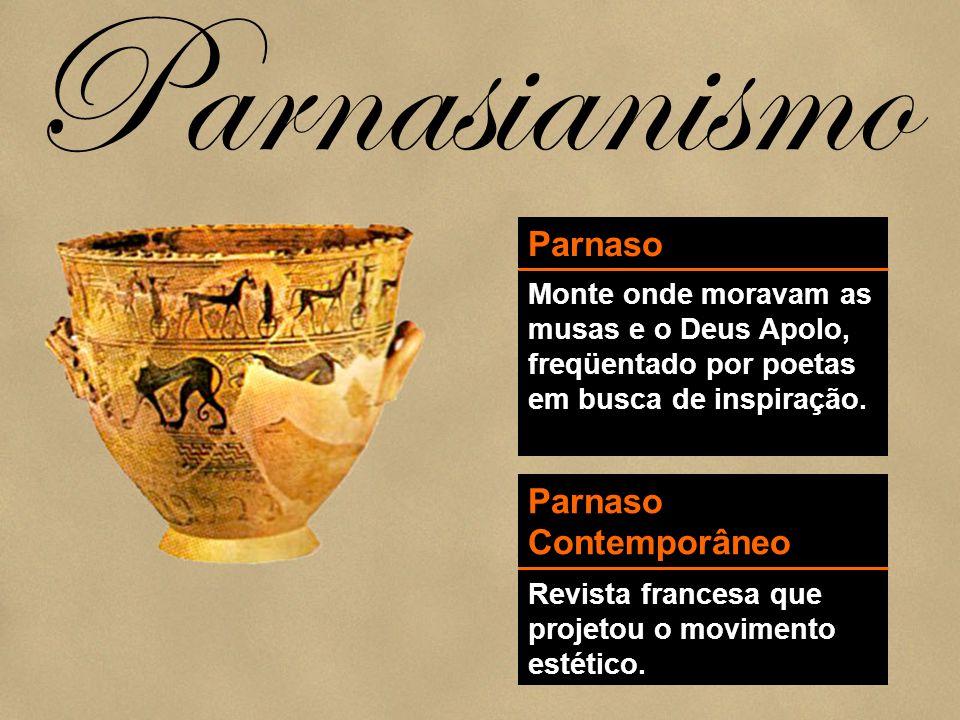 Parnasianismo Parnaso Monte onde moravam as musas e o Deus Apolo, freqüentado por poetas em busca de inspiração. Parnaso Contemporâneo Revista frances