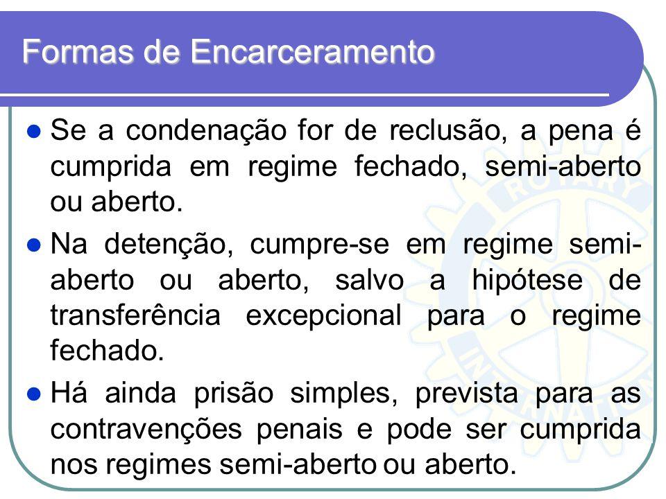 Formas de Encarceramento Se a condenação for de reclusão, a pena é cumprida em regime fechado, semi-aberto ou aberto. Na detenção, cumpre-se em regime