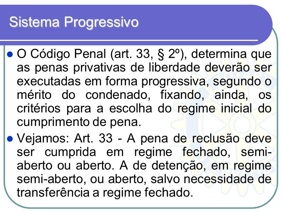 Sistema Progressivo O Código Penal (art. 33, § 2º), determina que as penas privativas de liberdade deverão ser executadas em forma progressiva, segund