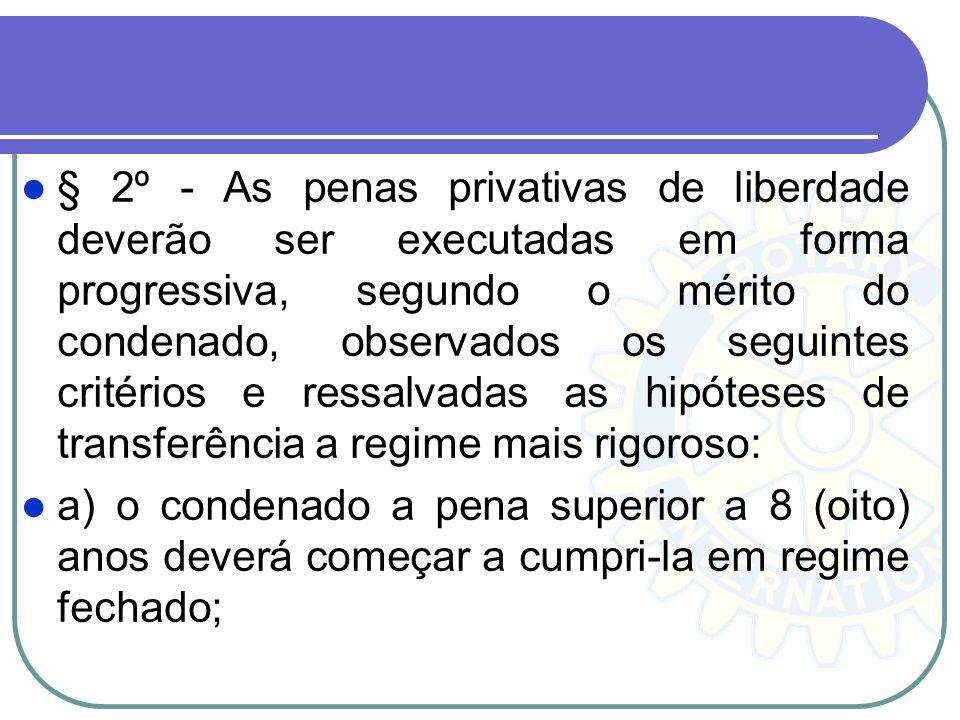 § 2º - As penas privativas de liberdade deverão ser executadas em forma progressiva, segundo o mérito do condenado, observados os seguintes critérios