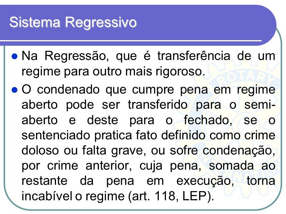 Sistema Regressivo Na Regressão, que é transferência de um regime para outro mais rigoroso. O condenado que cumpre pena em regime aberto pode ser tran