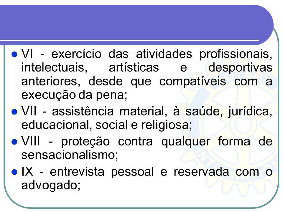 VI - exercício das atividades profissionais, intelectuais, artísticas e desportivas anteriores, desde que compatíveis com a execução da pena; VII - as