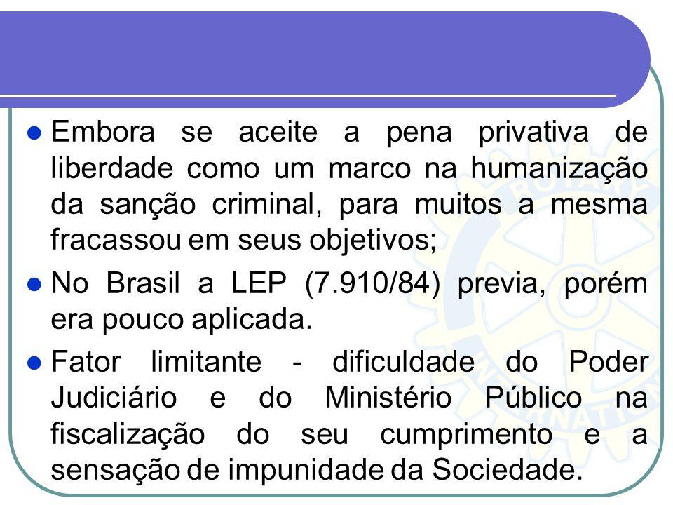 Embora se aceite a pena privativa de liberdade como um marco na humanização da sanção criminal, para muitos a mesma fracassou em seus objetivos; No Br