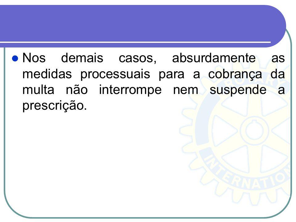 Nos demais casos, absurdamente as medidas processuais para a cobrança da multa não interrompe nem suspende a prescrição.