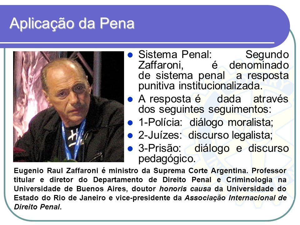 Aplicação da Pena Sistema Penal: Segundo Zaffaroni, é denominado de sistema penal a resposta punitiva institucionalizada. A resposta é dada através do