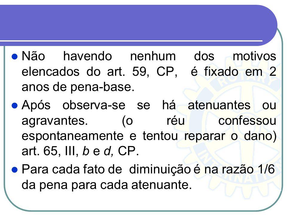 Não havendo nenhum dos motivos elencados do art. 59, CP, é fixado em 2 anos de pena-base. Após observa-se se há atenuantes ou agravantes. (o réu confe