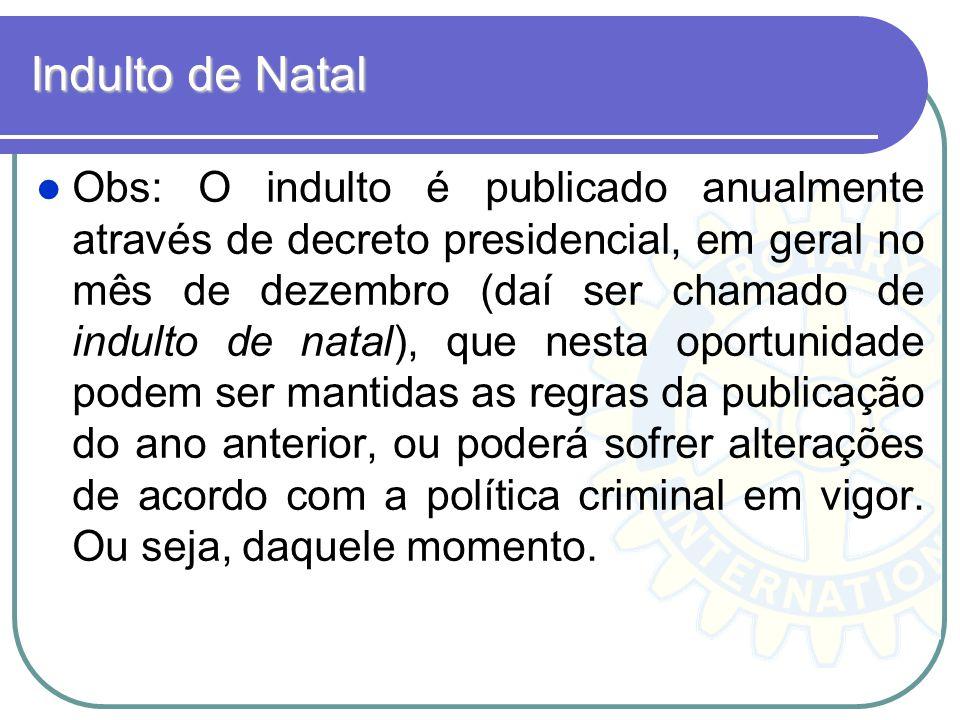 Indulto de Natal Obs: O indulto é publicado anualmente através de decreto presidencial, em geral no mês de dezembro (daí ser chamado de indulto de nat