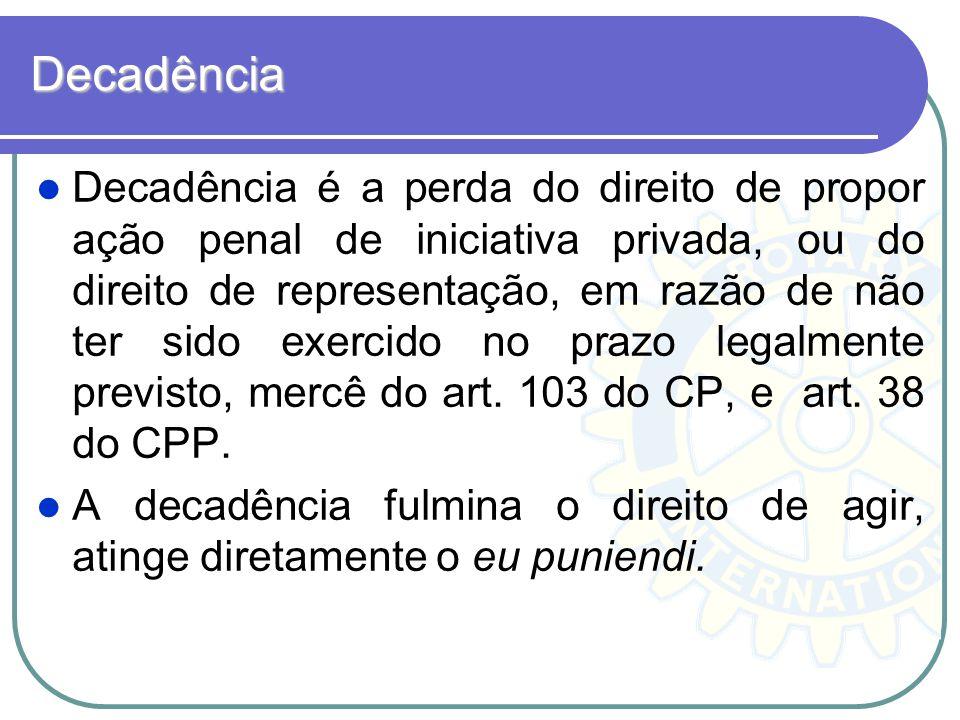 Decadência Decadência é a perda do direito de propor ação penal de iniciativa privada, ou do direito de representação, em razão de não ter sido exerci