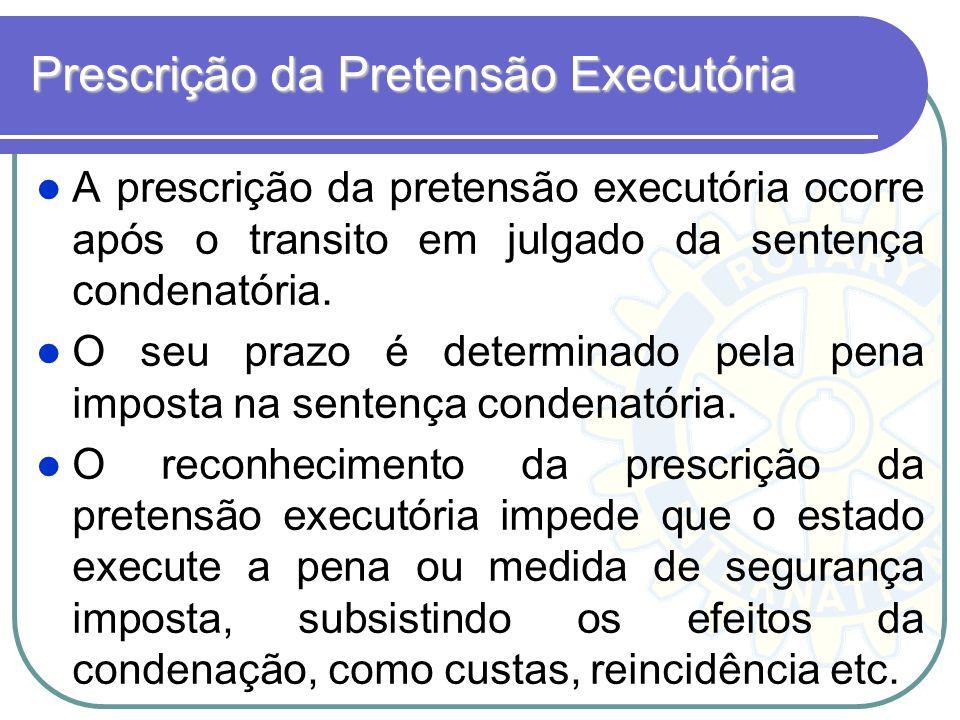 Prescrição da Pretensão Executória A prescrição da pretensão executória ocorre após o transito em julgado da sentença condenatória. O seu prazo é dete