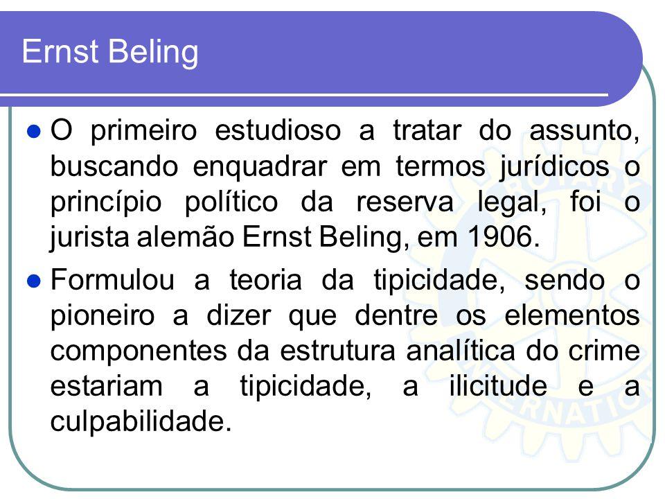 Ernst Beling O primeiro estudioso a tratar do assunto, buscando enquadrar em termos jurídicos o princípio político da reserva legal, foi o jurista ale