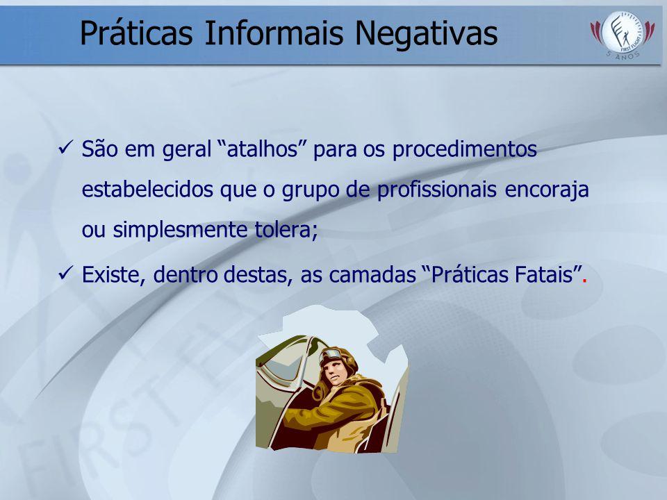 Práticas Informais Negativas São em geral atalhos para os procedimentos estabelecidos que o grupo de profissionais encoraja ou simplesmente tolera; Ex
