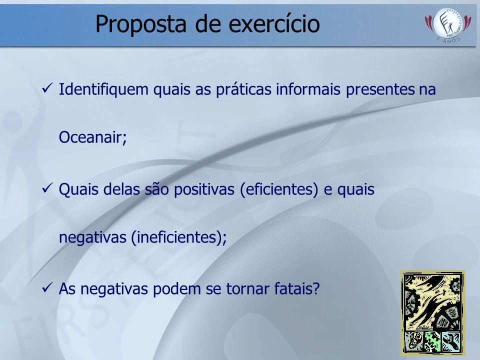 Proposta de exercício Identifiquem quais as práticas informais presentes na Oceanair; Quais delas são positivas (eficientes) e quais negativas (inefic