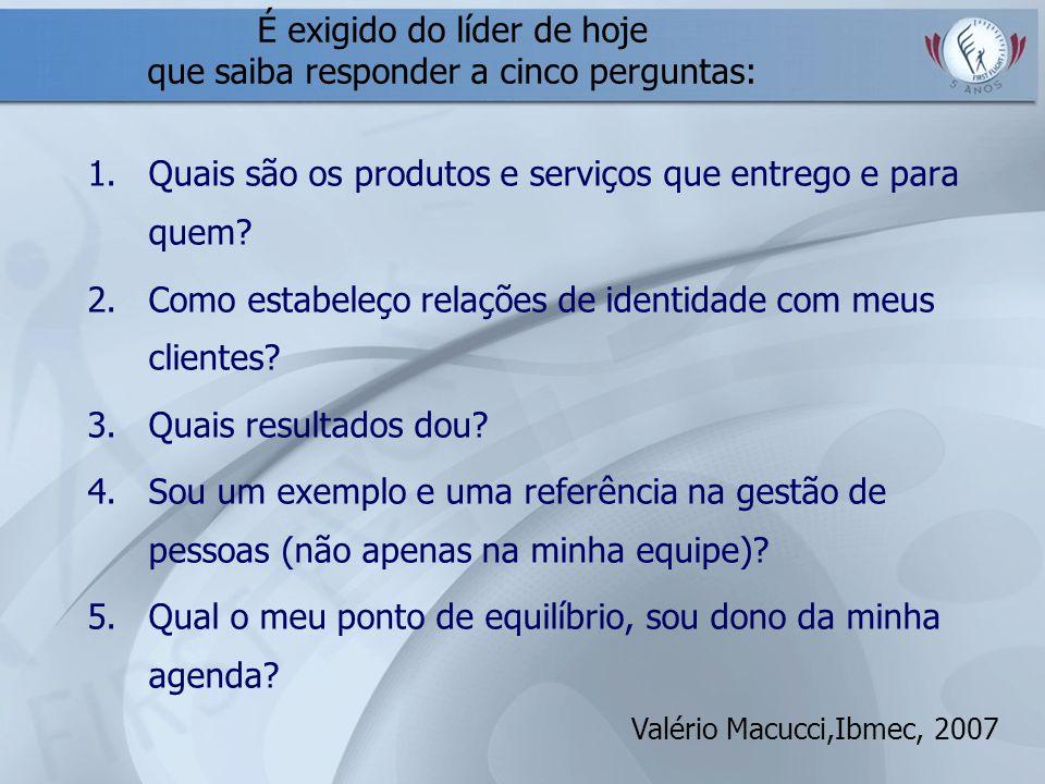É exigido do líder de hoje que saiba responder a cinco perguntas: 1.Quais são os produtos e serviços que entrego e para quem? 2.Como estabeleço relaçõ
