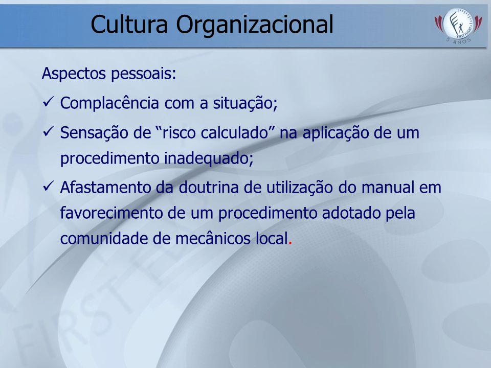 Cultura Organizacional Aspectos pessoais: Complacência com a situação; Sensação de risco calculado na aplicação de um procedimento inadequado; Afastam