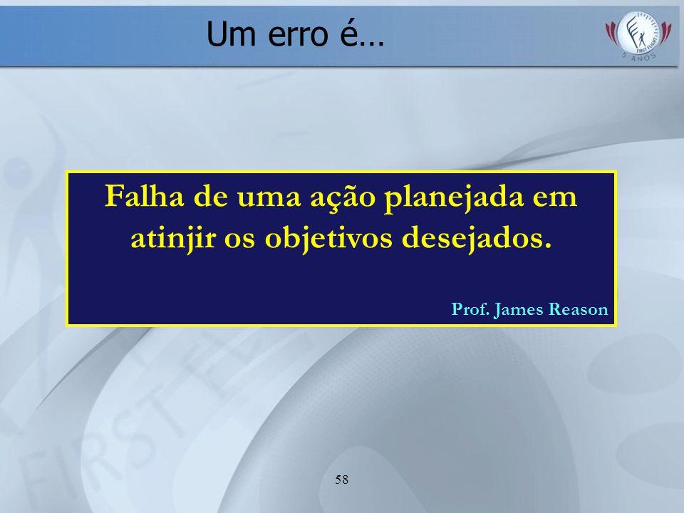 58 Falha de uma ação planejada em atinjir os objetivos desejados. Prof. James Reason Um erro é…