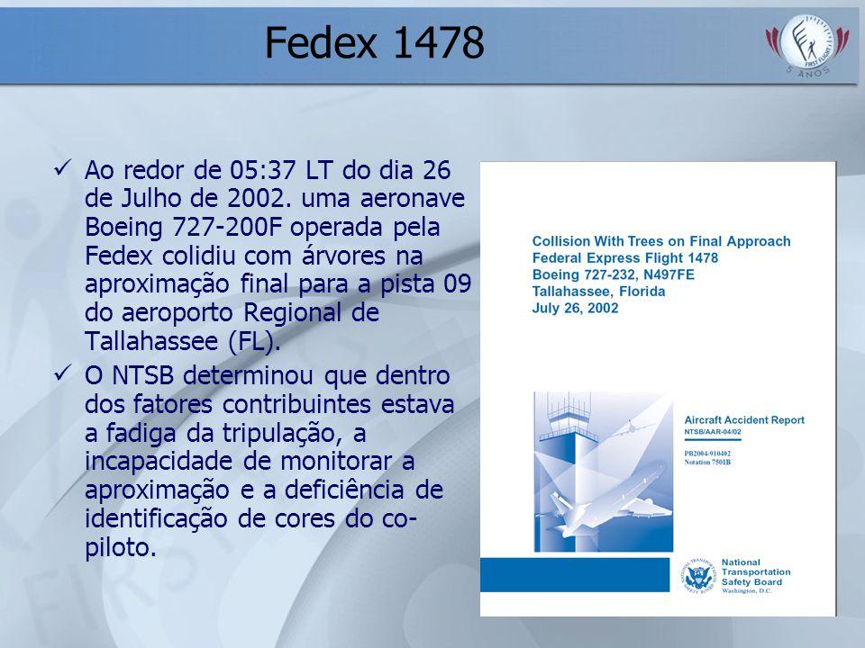Fedex 1478 Ao redor de 05:37 LT do dia 26 de Julho de 2002. uma aeronave Boeing 727-200F operada pela Fedex colidiu com árvores na aproximação final p