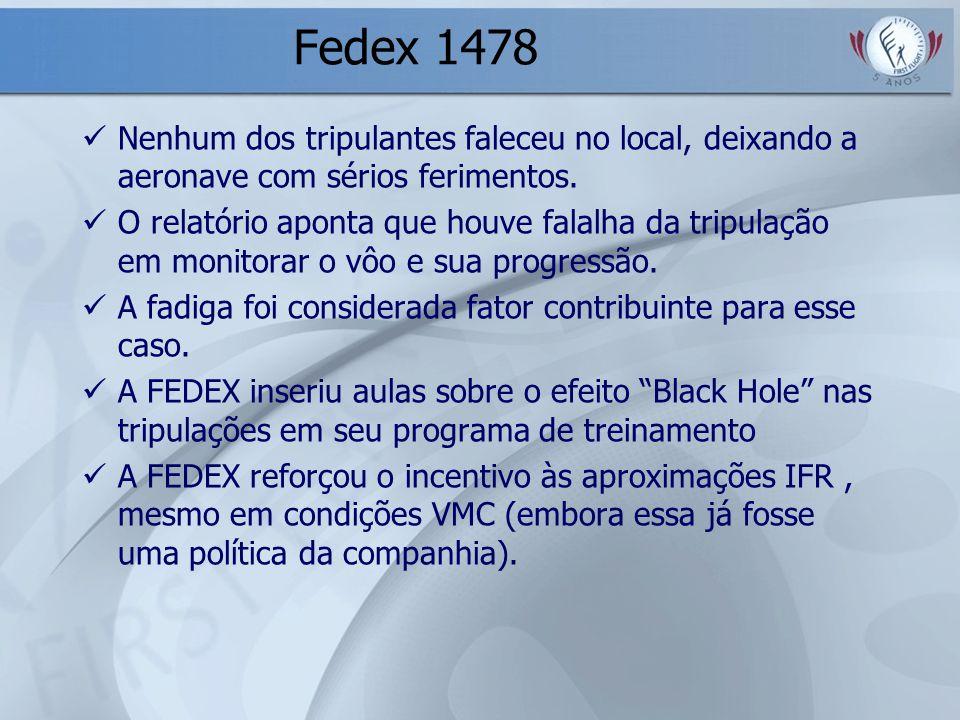 Fedex 1478 Nenhum dos tripulantes faleceu no local, deixando a aeronave com sérios ferimentos. O relatório aponta que houve falalha da tripulação em m