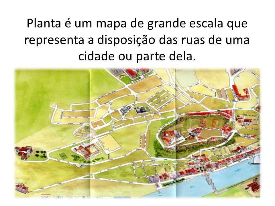 Planta é um mapa de grande escala que representa a disposição das ruas de uma cidade ou parte dela.