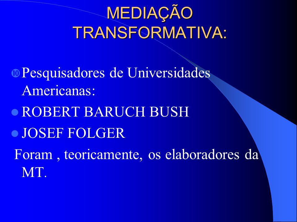 MEDIAÇÃO TRANSFORMATIVA: MEDIAÇÃO TRANSFORMATIVA: Pesquisadores de Universidades Americanas: ROBERT BARUCH BUSH JOSEF FOLGER Foram, teoricamente, os elaboradores da MT.