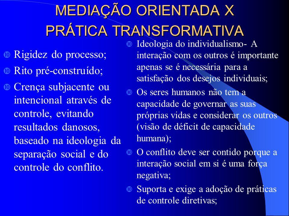 MEDIAÇÃO ORIENTADA X PRÁTICA TRANSFORMATIVA Rigidez do processo; Rito pré-construído; Crença subjacente ou intencional através de controle, evitando resultados danosos, baseado na ideologia da separação social e do controle do conflito.