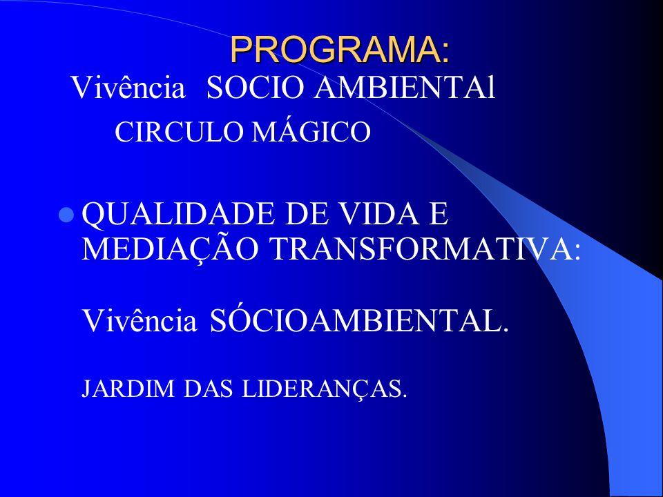 PROGRAMA: PROGRAMA: Vivência SOCIO AMBIENTAl CIRCULO MÁGICO QUALIDADE DE VIDA E MEDIAÇÃO TRANSFORMATIVA: Vivência SÓCIOAMBIENTAL.