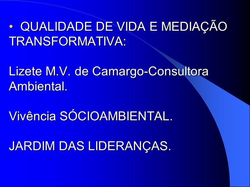 QUALIDADE DE VIDA E MEDIAÇÃO TRANSFORMATIVA: Lizete M.V.