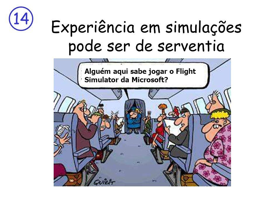 14 Experiência em simulações pode ser de serventia Alguém aqui sabe jogar o Flight Simulator da Microsoft